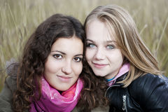 Autumn Portrait Of Two Young Women Stock Photos