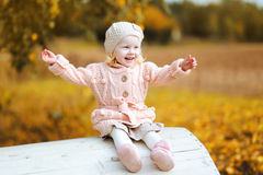 Autumn portrait positive child having fun Stock Photography