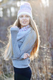 Autumn portrait of pretty woman outdoor smiling happy in hat and Royalty Free Stock Photos