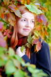 Autumn portrait of a red-haired girl Stock Photos