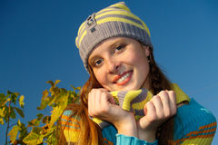 Autumn portrait of redheaded  girl Stock Photos