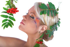 Autumn portrait with rowan berries and leaves Stock Image