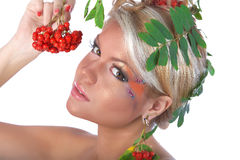 Autumn portrait with rowan berries and leaves Stock Photo