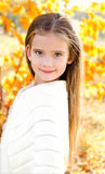 Autumn portrait smiling adorable little girl in the park Royalty Free Stock Images