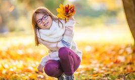 Autumn. Portrait of a smiling young girl who is holding in her hand a bouquet of autumn maple leaves. Pre-teen young girl with glasses and teeth braces Royalty Free Stock Images