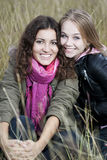 Autumn portrait of two young women Stock Photo