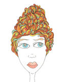 Autumn portrait of a woman with abstract hair. Drawing hand on a white background royalty free illustration