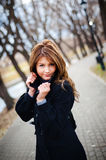Attractive girl portrait. Outdoor portrait of a young girl in the park Stock Photos