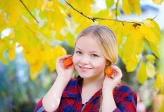 Autumn portrait of young girl stock photography
