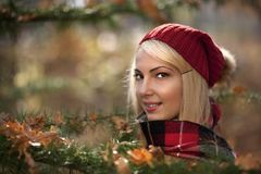 Autumn portrait of a young woman. Stock Image