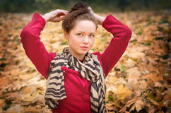 Autumn portret of beautiful girl Stock Photography