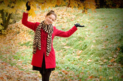Autumn portret of beautiful smiling girl Stock Images