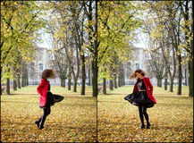 Autumn portret of happy beautiful girl Stock Images