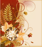 Autumn postcard with precious gemstone Royalty Free Stock Photography