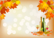 Autumn , postcard .Ripe grapes, wine glass and bot Royalty Free Stock Image