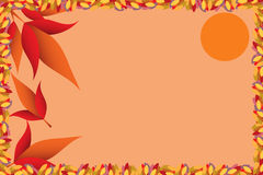 Autumn postcard vector illustration. Autumn seasonal colored card with leaves and sun Royalty Free Stock Images