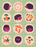 Autumn Poster With Hedgehogs Royalty Free Stock Photography