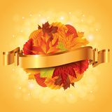 Autumn poster with leaves sphere and ribbon Royalty Free Stock Image