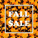 Autumn poster with orange maple leaves Royalty Free Stock Images