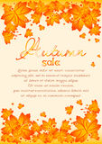 Autumn poster with orange maple leaves Stock Photo
