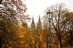 Autumn Prague. With the view of Vysehrad and Basilica of St Peter and St Paul Stock Photography