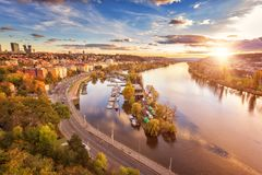 Autumn in Prague, golden sunset from popular view point, Vyshehrad, Czech Republic stock images