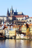 Autumn Prague gothic Castle above River Vltava Stock Photos