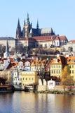 Autumn Prague gothic Castle above River Vltava Stock Photos