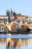 Autumn Prague gothic Castle above River Vltava Stock Image