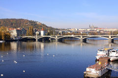 Autumn Prague gothic Castle above River Vltava, Czech Republic Stock Photo