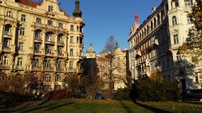 Autumn in Prague. View of the street in Prague & x28;Chech& x29 Royalty Free Stock Image