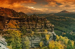 Autumn Pravcice Gate. Autumn view of the landscape around the Pravcice Gate in Czech Switzerland/Czech Republic royalty free stock images