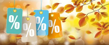 Autumn Price Stickers Percents Beech Foliage Header. Autumn price stickers header with bokeh and beech foliage vector illustration
