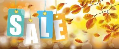 Autumn Price Stickers Sale Beech Foliage Header. Autumn price stickers header with bokeh and beech foliage royalty free illustration
