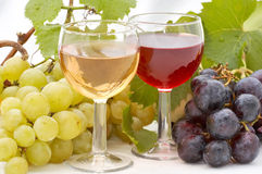 Autumn products. Glass white and red wine with autumn fruits Royalty Free Stock Images