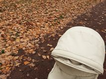 Autumn promenade with baby carriage Royalty Free Stock Images