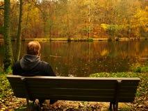 Autumn promenade at Lake Stock Image