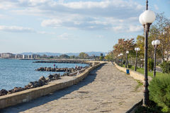 Autumn promenade in Pomorie, Bulgaria Royalty Free Stock Photography