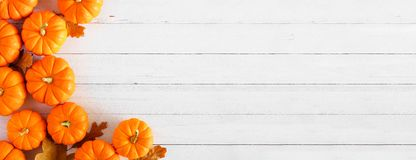 Free Autumn Pumpkin And Leaf Side Border Banner Over A White Wood Background Royalty Free Stock Photos - 159853608