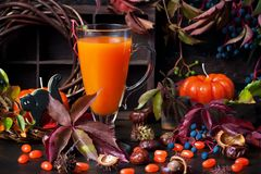 Autumn pumpkin cocktail with Halloween decor on dark backgroun stock photo