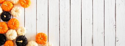 Free Autumn Pumpkin Corner Border In Halloween Colors Orange, Black And White Against A White Wood Banner Background Royalty Free Stock Images - 194084939
