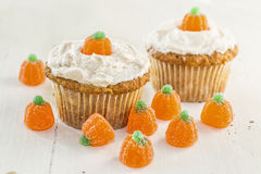 Autumn Pumpkin Cupcakes Stock Photography