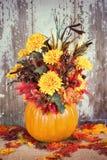 Autumn pumpkin flower arrangement Royalty Free Stock Photo