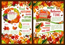 Autumn pumpkin, fruit and berry harvest poster. Autumn time celebration poster of invitation leaflet of seasonal fall harvest. Vector maple leaf, oak acorn or Royalty Free Stock Photography