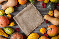 Autumn pumpkin harvest decoration frame empty blank space for design text with cloth Royalty Free Stock Photo