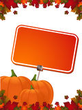 Autumn pumpkin, leaves and label Stock Photos