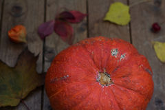 Autumn pumpkin with leaves on wooden board. Autumn pumpkin with leaves on a wooden board Stock Photo