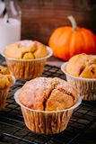 Autumn Pumpkin Muffins fait maison photo stock