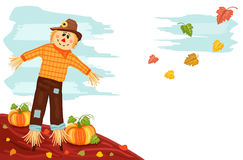 Autumn - Pumpkin and Scarecrow. Autumn harvesting with cute scarecrow and pumpkins Stock Photos