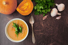 Autumn pumpkin soup with fresh parsley Royalty Free Stock Photo